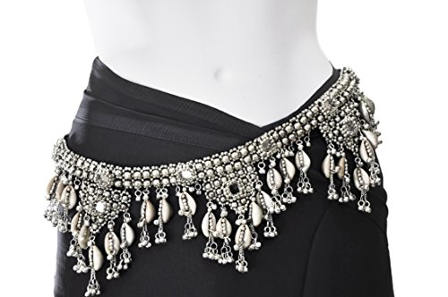 Waist Chain - Belly Chain for Women - Gypsy Belly Dance belt - silver plated metal, bells, cowries - 23