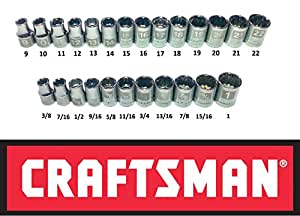 "Craftsman Easy Read 25 PC 1/2"" Drive 12 Point Socket Set - Standard SAE & Metric MM"