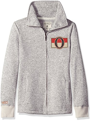 (adidas NHL Ottawa Senators Womens CCM Fleece Track Jacketccm Fleece Track Jacket, Grey Heathered, Medium )