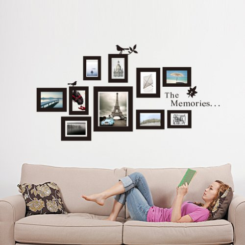The Memories Quotes Wall Decor with 10 Photo Frames Wall Sticker ...