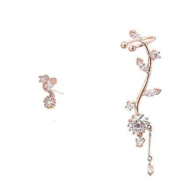 64b0c6df7 Ear Crawler Earrings Leaves Climber Ear Cuff Chandelier Rhinestone Wrap Pin  Asymmetric Flower Tassel Stud Golden