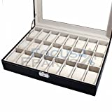 Fashion 24 Grids Watch Box Glass Top Display Jewelry Organizer Storage Leather Case