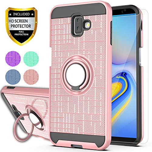 Galaxy J6 Plus Case, Galaxy J6 Prime Case with HD Screen Protector, YmhxcY 360 Degree Rotating Ring & Bracket Dual Layer Shock Bumper Cover for Samsung Galaxy J6+ Plus 2018-ZH Rose Gold