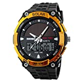 Mrignt Fashionable Golden Solar Wrist Watch for Men Waterproof and Shock Resistant
