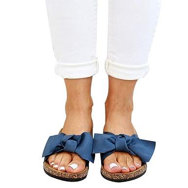 15e43a2d56c00 Jodimitty Damen Sandalen mit Fußbett Pantoletten mit Schleife Flache  Sommerschuhe Strand Schuhe Offen Slipper Sommer Bequeme