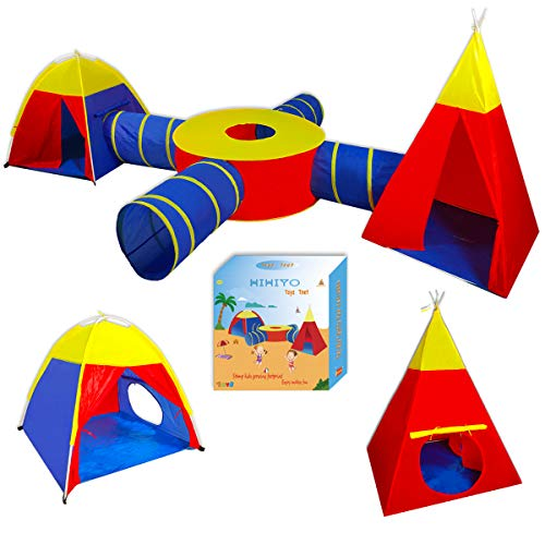 (HIHIYO 7pc Kids Indian Tent and Play Ball Pit Playhouse ,4 Crawl Tunnel and Oblate Circular Tent for Girls, Boys, Babies, and Toddlers for Indoor and Outdoor Use with Exquisite Packaging)