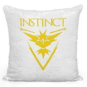 """Sequin Throw Pillow Team Instinct Logo Pokemon Go Pillow Printed White Silver Sequin - 16"""" x 16"""""""