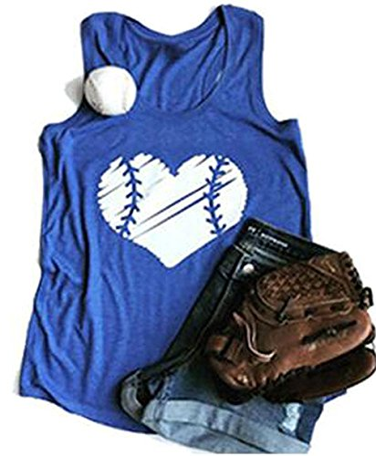 Baseball Softball Tank Top - YUYUEYUE Baseball Mom Heart Print Funny Tank Top Women's Casual Vest Cami T-Shirt Tee