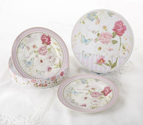 Delton Products Pink Grace Pattern Porcelain 2-Dessert Plates with Matching Keepsake Box -