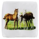 18 Inch 6-Sided Cube Ottoman Trio of Horses