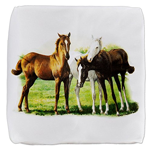 13 Inch 6-Sided Cube Ottoman Trio of Horses by Royal Lion