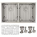 32 in Undermount Double Bowl Kitchen Sink,16 Gauge Stainless Steel, Basket Strainers, Grids, S-405XG