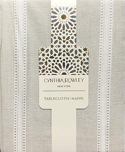 Cynthia Rowley New York Fabric Holiday Tablecloth Cream/Light Tan Silver Tinsel Metallic Stripes- 60 Inches x 84 Inches