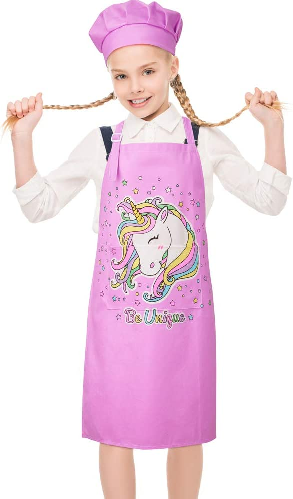 MHJY Kids Apron Chef Hat Set, Unicorn Shark Child Aprons with Adjustable Neck Strap and 2 Pockets, Girls Boys Aprons for Cooking Baking Painting Gardening