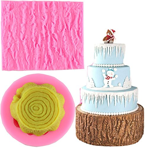 Mujiang Tree Bark texture Design Cake Decorating Supplies Fondant Impression Mat