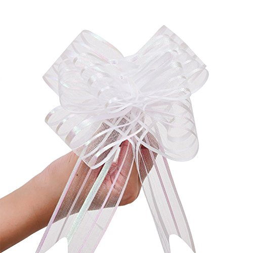 Bows Satin Wedding Pew - LazyMe Pull Bow, Large, Organza, 6 Inches, for Birthday, Baby Shower, Wedding, Christmas, Holiday Decoration, Party Gift Wrap (White, 10 Pcs)