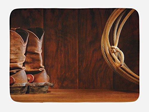 (Ambesonne Western Bath Mat, American Style Cowboy Wild West Culture Equestrian Sports Team Roping Barn Print, Plush Bathroom Decor Mat with Non Slip Backing, 29.5 W X 17.5 L Inches, Umber Brown)