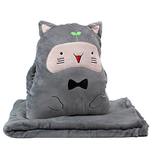 KOSBON 3 In 1 Cute Cartoon Plush Stuffed Animal Toys Throw Pillow Blanket Set with Hand Warmer Design.