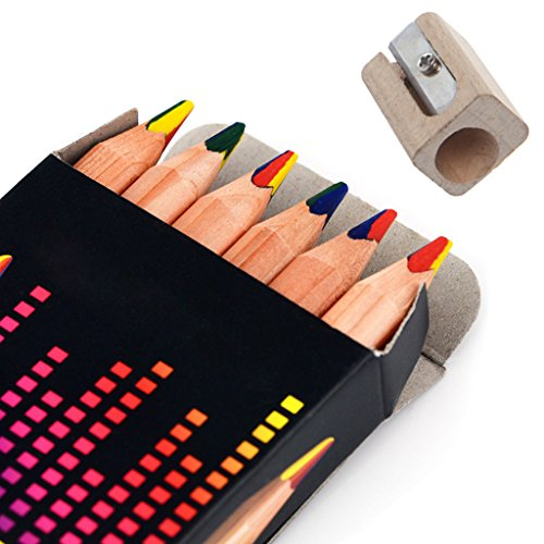 SupremeLife 6Pcs/Set Multicolor Pencil, with One Pencil Sharpener, Triangle Natural Wood Rainbow Pens Set, for Art Drawing Graffiti Gift]()