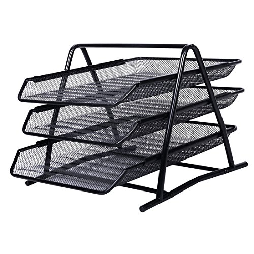 AlfOffice 3 Tier Document Tray Desk Organizer | Stackable File Organizer for Essential Desk Files | Desktop Letter, Mail & Paper Holder & Sorter | Sliding Wire Mesh File Tray for Office & Classr