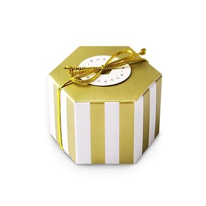Gold Stripes Candy Box Bulk Gold Ribbon Round Card Hexagon Gold Stripes Style Design Wedding Candy Box Baby Shower Box Diy Chocolate Cookies