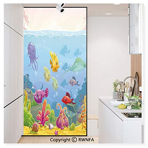 Treasures Mirrored Door Chest - RWN Film Removable Static Decorative Privacy Window Films Funny Cartoon Style Underwater Scenery with Various Animals and Treasure Chest for Glass (17.7In. by 78.7In),Multicolor