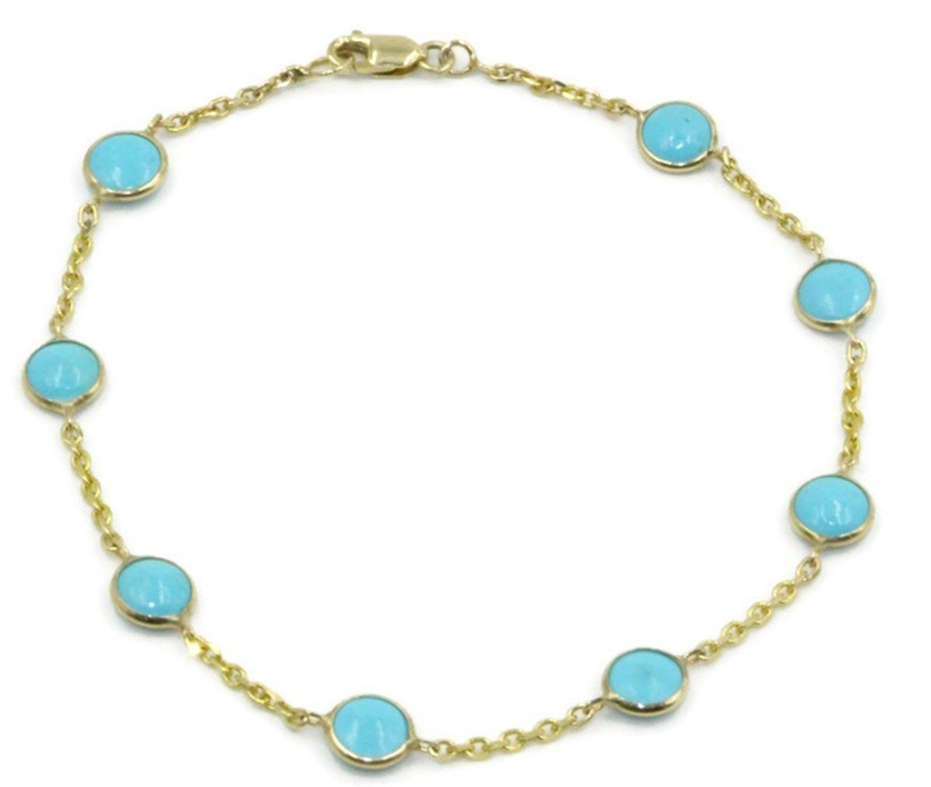 Blue 4 mm Round Turquoise 7'' Bracelet,14K Yellow Gold