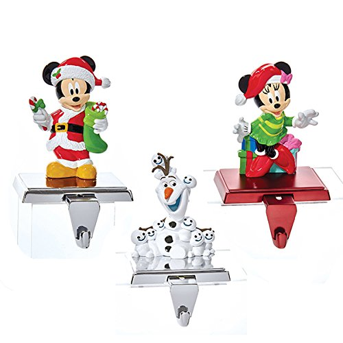 Kurt Adler 1 Set 3 Assorted 12 Piece Disney Olaf, Mickey And Minnie Mouse Christmas Stocking Holders by Kurt Adler