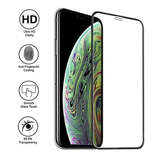 Screen Protector Compatible for iPhone Xs MAX, Tempered Glass Screen Protector, 3D Full Frame Curved Edge, 9H Hardness, Easy Installation (iphonexsmax/2pack)