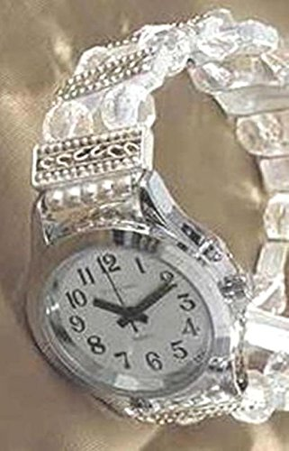 Elegance Collection-Ladies Talking Wrist Watch Silver Tone with Deluxe Beaded Band