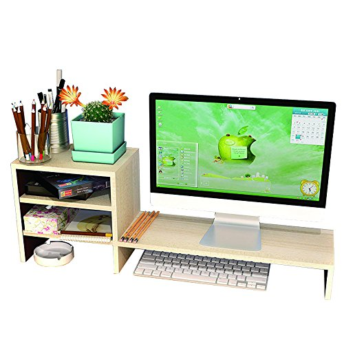 YUMU Wooden Computer Monitor Stand Riser with Waterproof Office Desktop Oranizer Storage Accesories Container For Screens Up with keyboard Storage Space MY1005-01 (Burlywood)