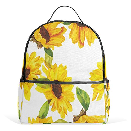 ALAZA Watercolor Sunflower Floral Polyester Backpack School Travel Bag