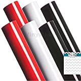 A2G304 12 x 12 Inches Red White Black 2 sheets of each color Gloss Permanent Outdoor Adhesive Vinyl Sheets Rolls for Personal Craft Vinyl Cutters make Wall Decals Vinyl Lettering Stickers at home