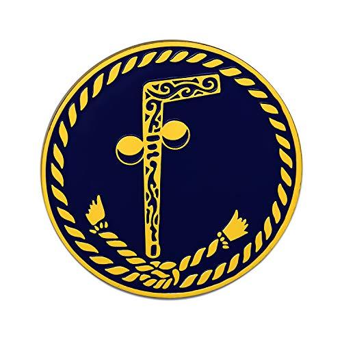 (Tubal Cain Black Round Masonic Auto Emblem - 3
