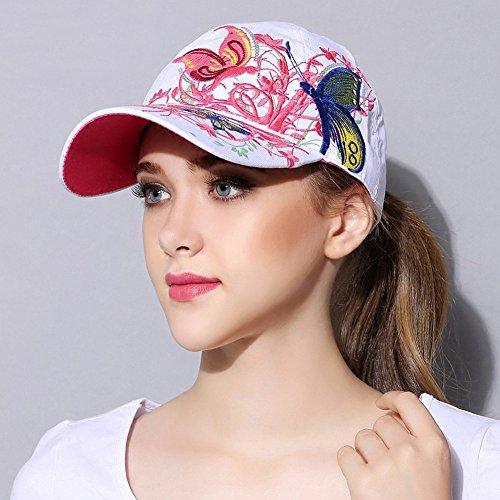Qchomee Sombrero de béisbol con diseño de mariposa y mariposa para mujer, ideal para viajes, deportes, playa, protección solar, fiesta, etc. blanco