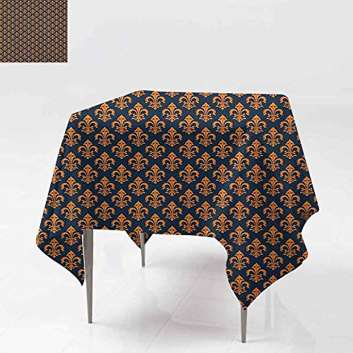 DUCKIL Dustproof Tablecloth Western Culture Inspired Ancient Symbol Ornamental Elements Floral Vintage Party W63 xL63 Indigo Orange