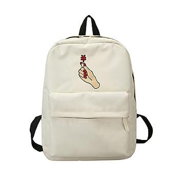 Mochila, Manadlian Bolso escolar de mujer Chicas Bordado de lona Bolso de escuela de flores Mochila de viaje (31.5cm*13.5cm*40cm, F): Amazon.es: Hogar
