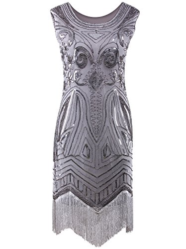 Vijiv Women's 1920's Vintage Gatsby Bead Sequin Art Nouveau Deco Flapper Dress,Small,Silver Grey -