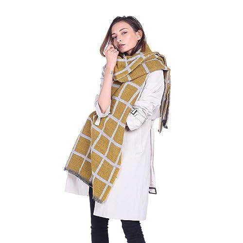 Moda clásica bufanda de cuadros cuadrados temperamento de la señora de doble cara bufanda a cuadros ...