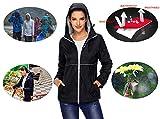 MOSZA Women Waterproof Raincoat Hooded Slicker