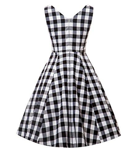 neck Picnic Party Black DAROJ Dress Plaid Style Rockabilly Vintage Women V OIOaR
