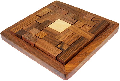 Puzzle Pentominoes Wooden Brain Teaser Strategy Game 13-Piece Wood Handmade - 5 Inch (Puzzle Brain Teaser Pentominoes)