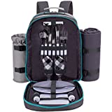 ALLCAMP 2 Person Grey Picnic Backpack Hamper with Cooler Compartment Includes Tableware & Fleece Blanket (Grey)