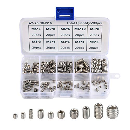 QLOUNI 200pcs M3 M4 M5 M6 M8 Allen Head Socket Hex Grub Screw Set Cup Point Assortment Kit (Metric, 304 Stainless Steel)