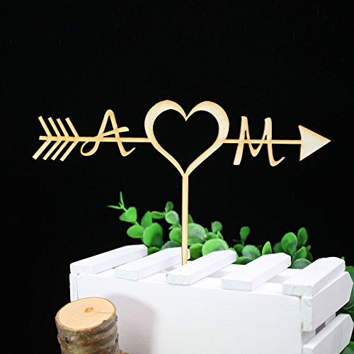 Personalized Acrylic wood Wedding Personalized Rustic Arrow Cake Topper Last name Initials Cake Topper