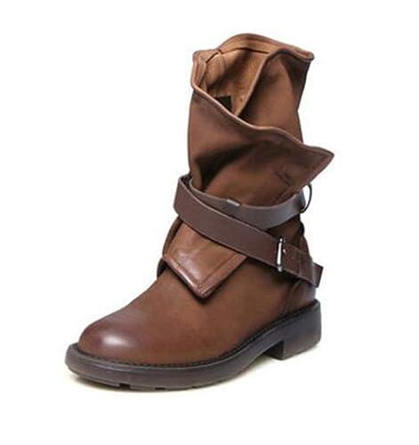 Botas para Mujer, Botas Militares Medianas Correa de Hebilla Botas Cortas Zapatos de Patchwork Zapatos de tacón bajo sólidos Mocasines de Mujer: Amazon.es: ...