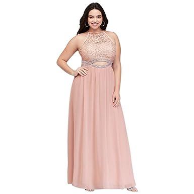 Davids Bridal Infinity Cutout Lace And Chiffon Plus Size Prom Dress