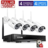 ZOSI FULL 1080P HD Wi-Fi Wireless Security Camera System 4CH 1080P HDMI NVR With 1TB Hard Drive and (4) HD 2.0MP 1080P Indoor/Outdoor IP Cameras,65ft Night Vision,Customizable Motion Detection