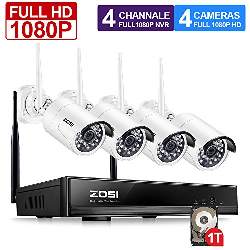 Hd 1080p (ZOSI FULL 1080P HD Wi-Fi Wireless Security Camera System 4CH 1080P HDMI NVR With 1TB Hard Drive and (4) HD 2.0MP 1080P Indoor/Outdoor IP Cameras,65ft Night Vision,Customizable Motion Detection)