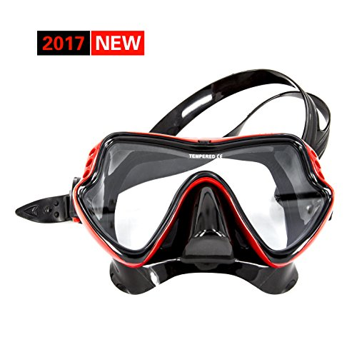 LINKIM Diving Mask with EVA Protective Case - 2017 New -Unique Single tempered glass Design - No leaking - Unisex Underwater Swimming Scuba Free Diving Snorkeling Mask